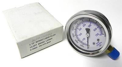 "BRAND NEW 2-1/2"" PRESSURE GAUGE 0-10000 PSI / KPA / BAR 1/4"" NPT (2 AVAIL)"