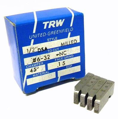 "NEW SET OF TRW THREAD CHASERS 1/2"" DSA MILLED TO CUT #6-32 -NC"