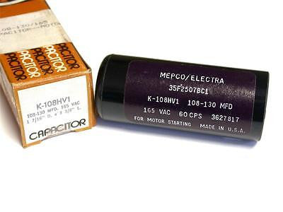 BRAND NEW IN BOX MEPCO / ELECTRA CAPACITOR 165VAC 60CPS 108-130MFD K108HV1