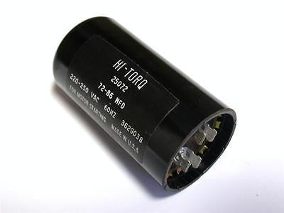 BRAND NEW HI-TORQ CAPACITOR 220-225VAC 60HZ 72-86MFD MODEL 25072 (2 AVAILABLE)