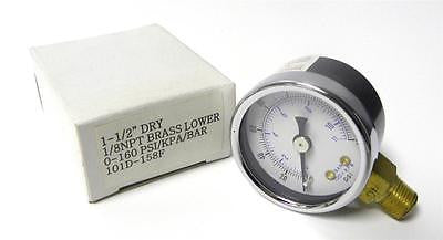 "BRAND NEW 1-1/2"" PRESSURE GAUGE 0-160 PSI / KPA / BAR 1/8"" NPT (6 AVAILABLE)"