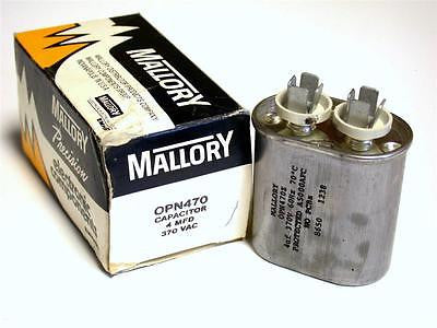 BRAND NEW IN BOX MALLORY CAPACITOR 4MFD 370VDC MODEL OPN470 (2 AVAILABLE)