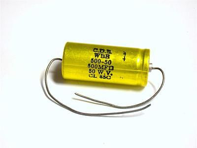 BRAND NEW CDE CAPACITOR 500MFD 50WV WBR 500-50 (3 AVAILABLE)