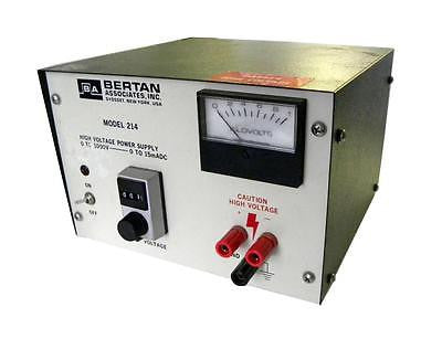BERTAN ASSOCIATES 214 HIGH VOLTAGE POWER SUPPLY 0-1000 VDC @ 15 MA MAX