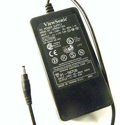 VIEWSONIC UP06031120A AC ADAPTER 12 VDC @ 3.8 A OUTPUT 100-240 VAC @ 1.4 A INPUT
