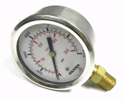 "NEW FAUVER LFG-2-300S 3000 PSI PRESSURE GAUGE 1/4"" NPT GLYCERIN FILLED"