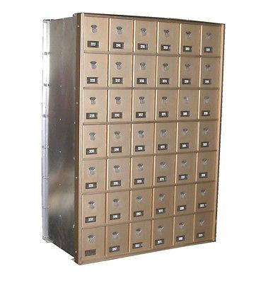 13 SETS CUTLER 42 SLOT POST OFFICE LOCKING DRAWERS