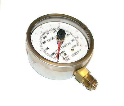 "NEW FRED S CARVER 4"" HYDRAULIC PRESSURE GAUGE 0-1000 LBS"