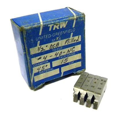 "NEW SET OF TRW THREAD CHASERS 1/2"" DSA MILLED TO CUT #4-40 -NC"