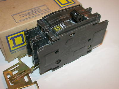 2 NEW SQUARE D 10 AMP 2 POLE CIRCUIT BREAKERS QOU210
