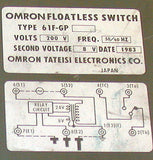 OMRON FLOATLESS SWITCH AND 8-PIN OCTAL SOCKET  61F-GP