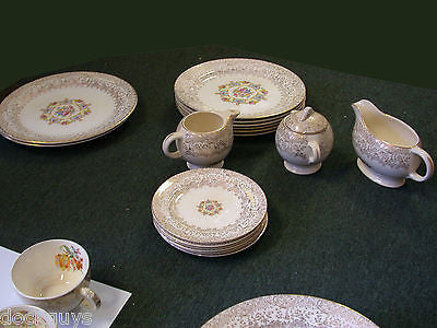 VERY NICE 70 PIECE WARRANTED 22 KT LIBERTY GOLD CHINA DISH SET