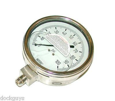 "NEW WIKA 4"" DIA. LIQUID FILLED GAUGE 1/4 NPT 0-100 PSI MODEL 9832373"