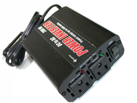 NEW SUPEREX DC TO AC 200 WATT DUAL OUTLET POWER INVERTER 59-102U