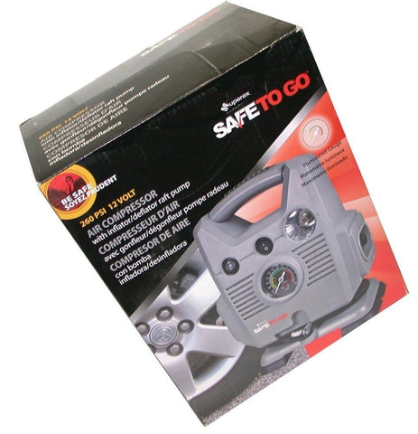 SUPEREX CPS-0161 SAFETO GO Grey 12V 260 PSI Dual Motor Air Compressor with Gauge