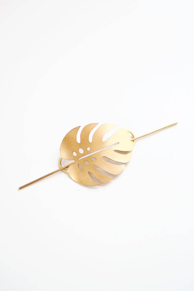Monstera Leaf Hair Pin (Brass)