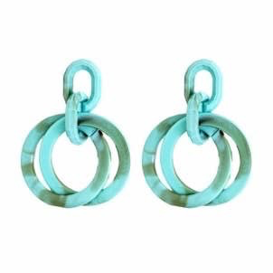 Acrylic Turquoise Layered Circle Earrings