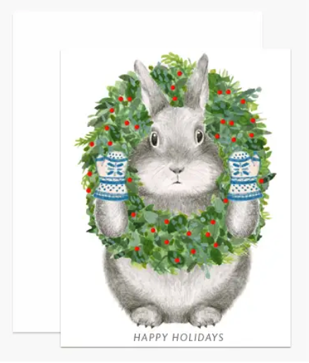 Bunny With Wreath Holiday Card