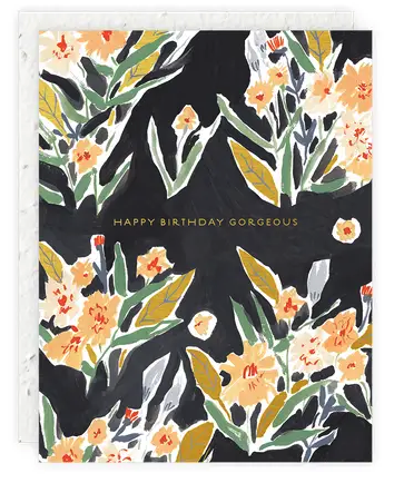 Black Floral Gorgeous Birthday Card