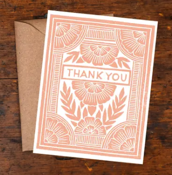 Pink Floral Block Print Thank You Card