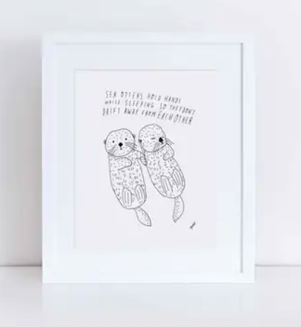 "Sea Otters Holding Hands Print (8"" x 10"")"