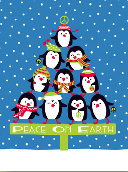 Penguin Pyramid Tree Holiday Card
