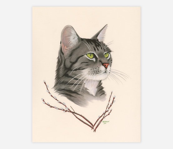 "Tabby Cat and Pussy Willow Print (8"" x 10"")"