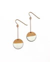 White Enamel and Gold Dangle Earrings