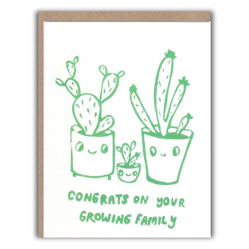 Growing Cactus Family Baby Card