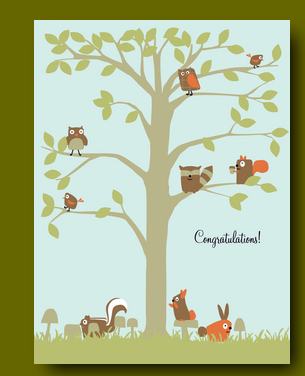Woodland Party Baby Card