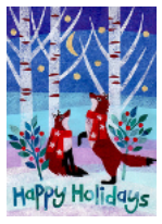 Happy Holidays Foxes Card