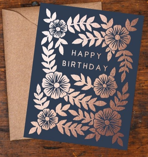 Navy and Rose Gold Floral Birthday Card