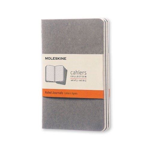 Set of 3 - Soft Cover Ruled Cahier Pocket Journals (Pebble Gray)