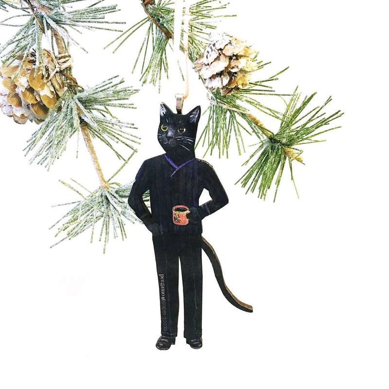 Black Cat With Coffee Ornament