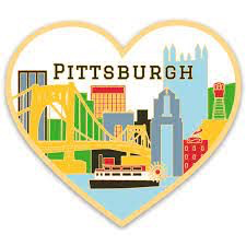 Pittsburgh Skyline Heart Vinyl Sticker