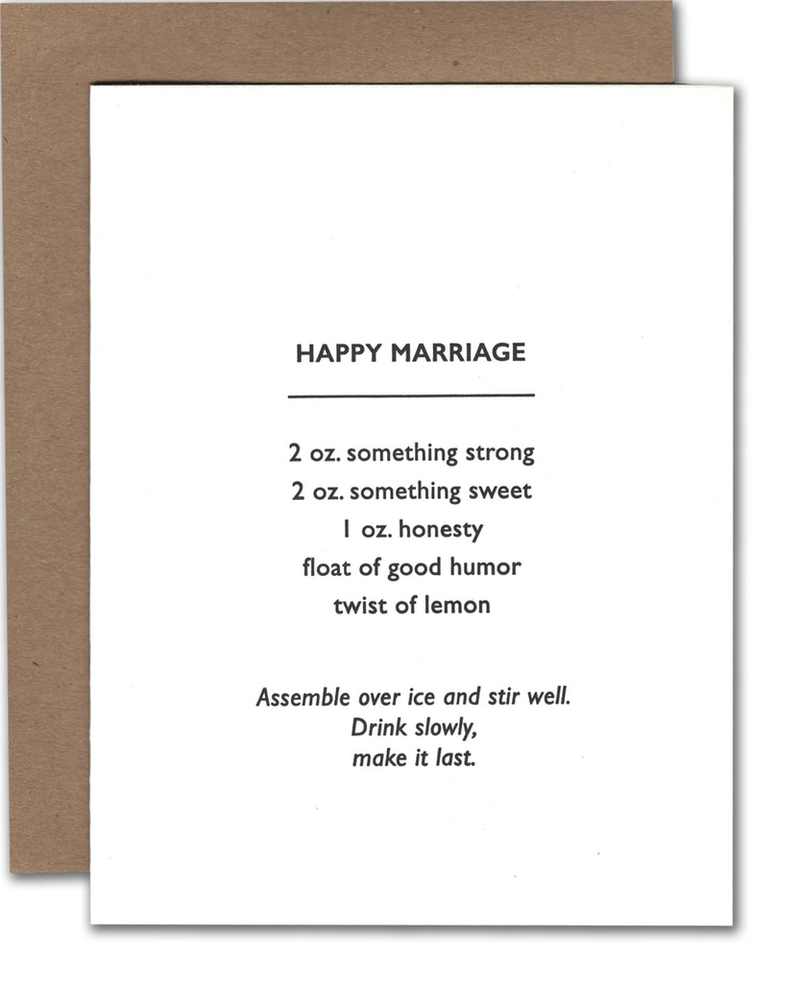 Happy Marriage Cocktail Wedding Card