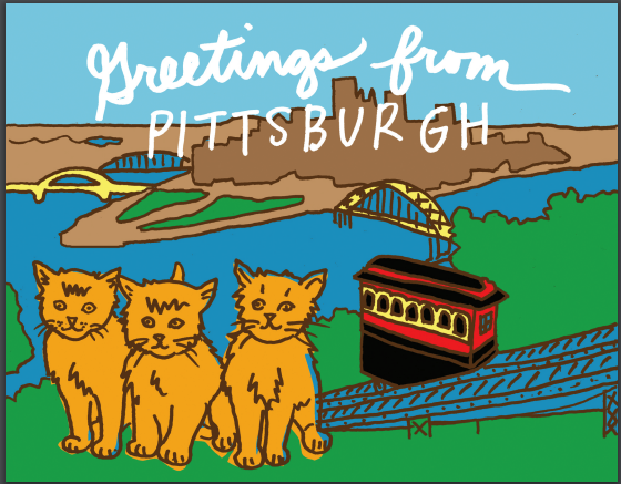 Greetings From Pittsburgh Postcard (Cats)