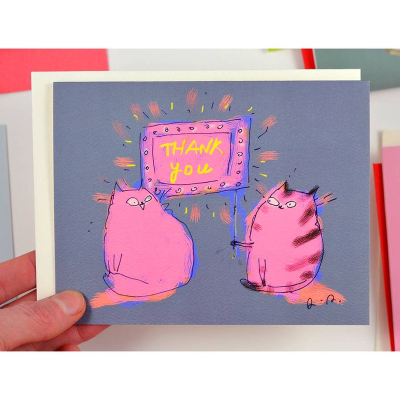 Neon Cats Thank You Card
