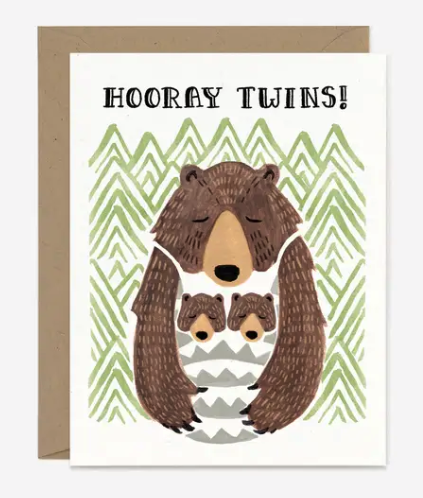 Hooray Twins! Baby Card