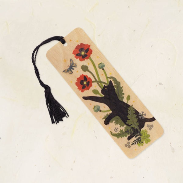 Black Cat and Poppies Wood Bookmark