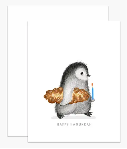 Hanukkah Penguin Card