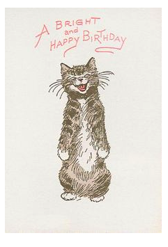 Cat Song Letterpress Birthday Card