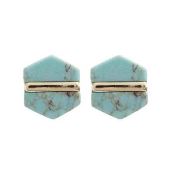 Turquoise Hexagon Stud Earrings