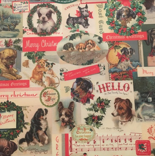 Vintage Dogs Holiday Wrap Paper (pick up only)