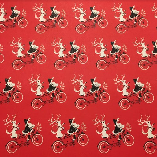 Santa and Rudolph Tandem Bike Wrap Paper Sheet (pick up only)