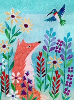 Fox and Hummingbird Card