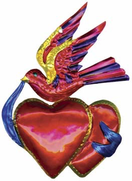 Hearts and Bird Tin Ornament