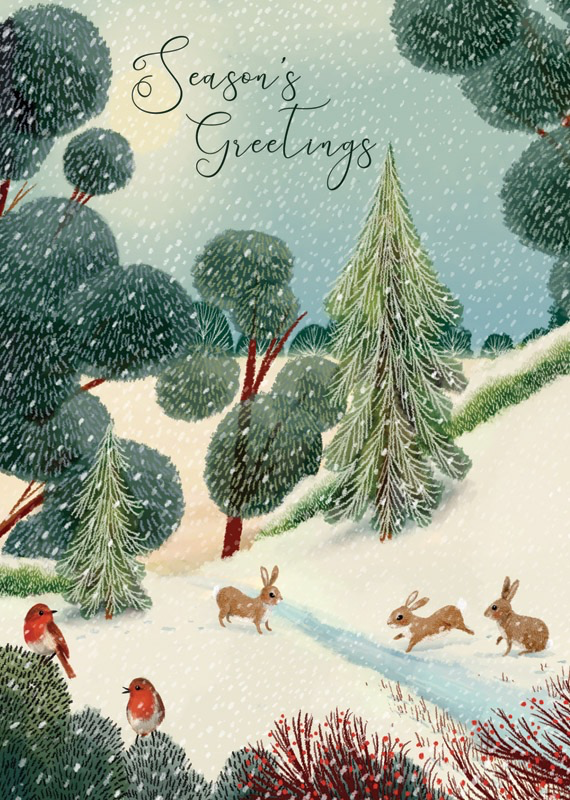 Rabbits in the Forest - Christmas Card