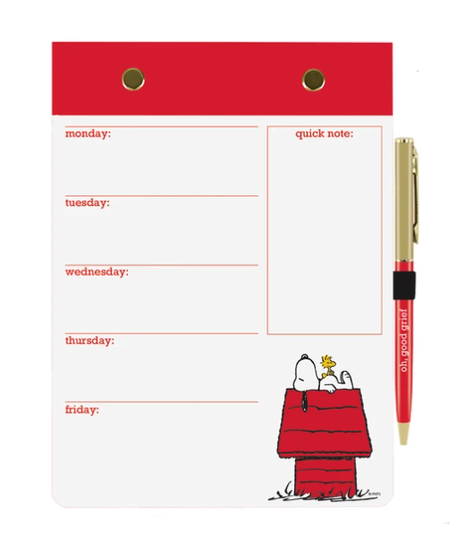 Snoopy Weeky Desk Pad and Pen