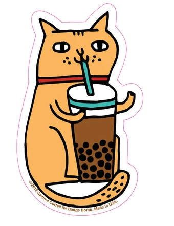 Bubble Tea Cat Sticker